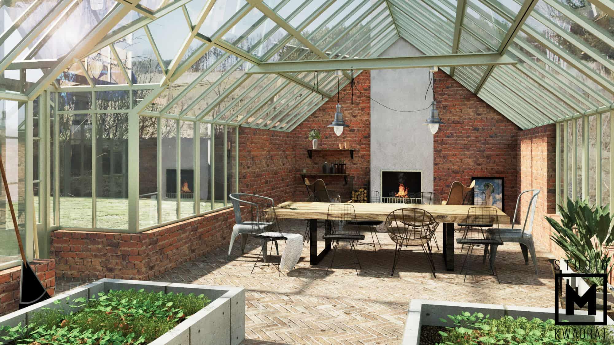 szklarnia wiktoriańska projekt architektura styl rustykalny angielski