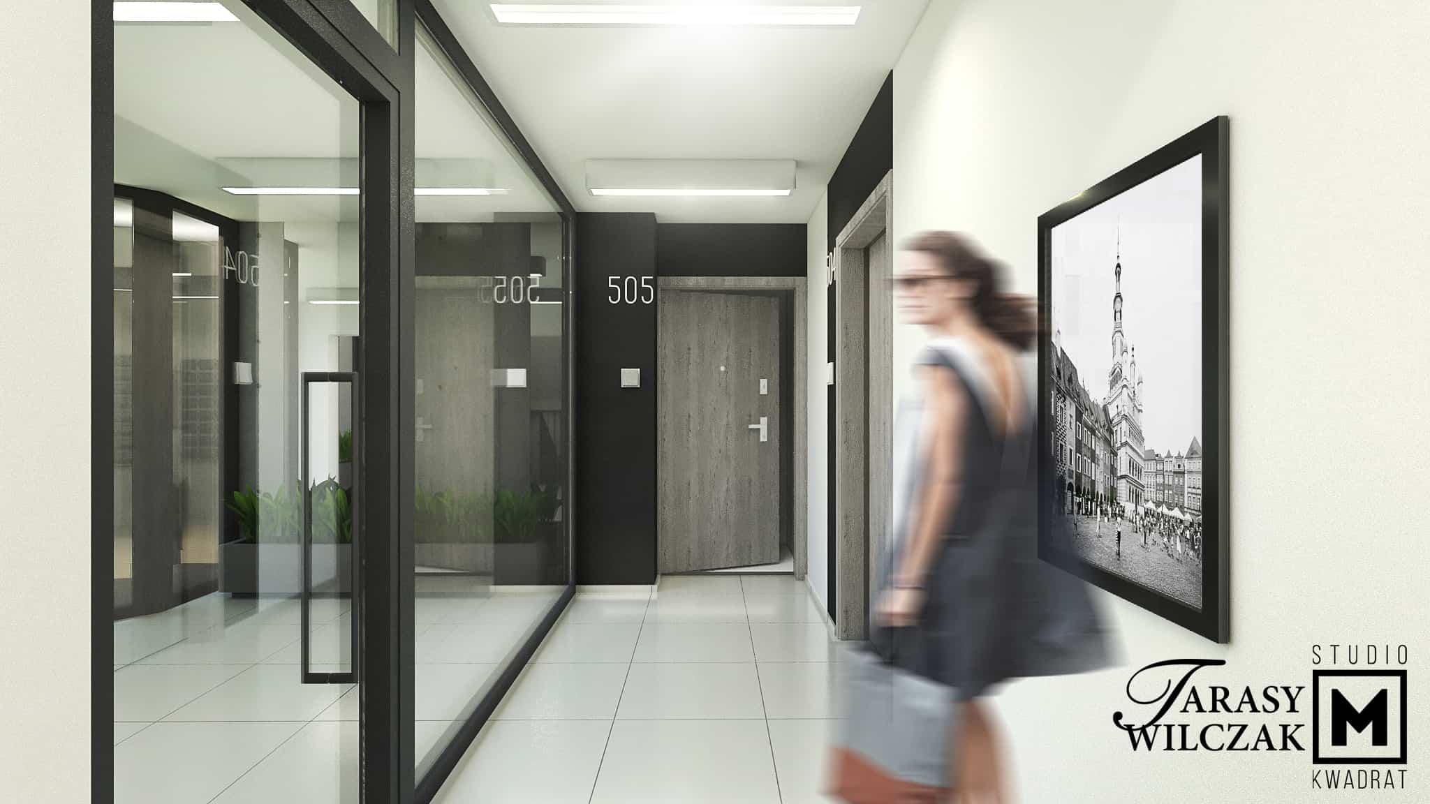 tarasy wilczak, projekt wnętrza przestrzeni wspólnej, korytarze klatki schodowe