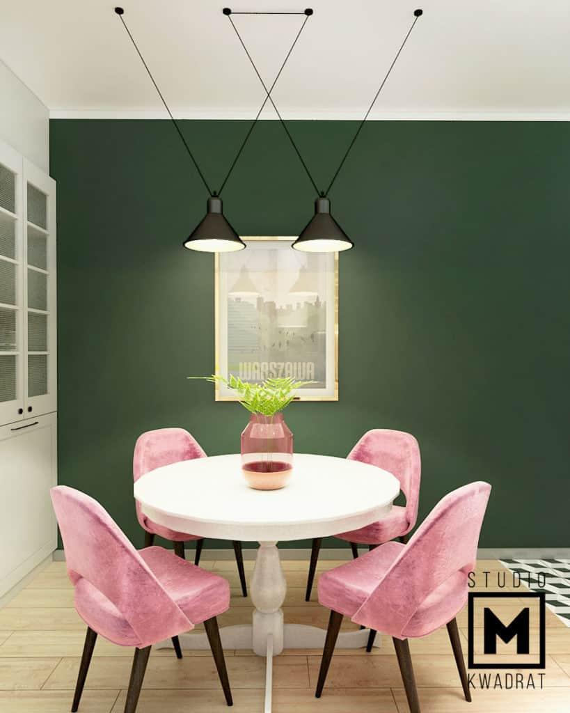 okrągły stół, warszawski plakat, różowe krzesła, projekt mieszkania
