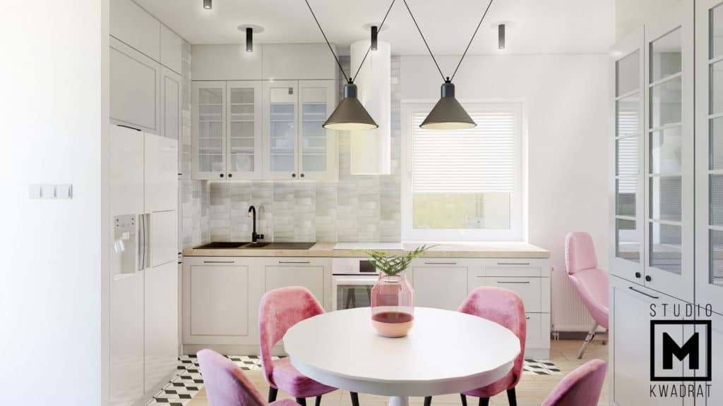 nowoczesna jadalnia, okrągły stół ikea, krzesła pudrowy róż, nowoczesna lampa wisząca