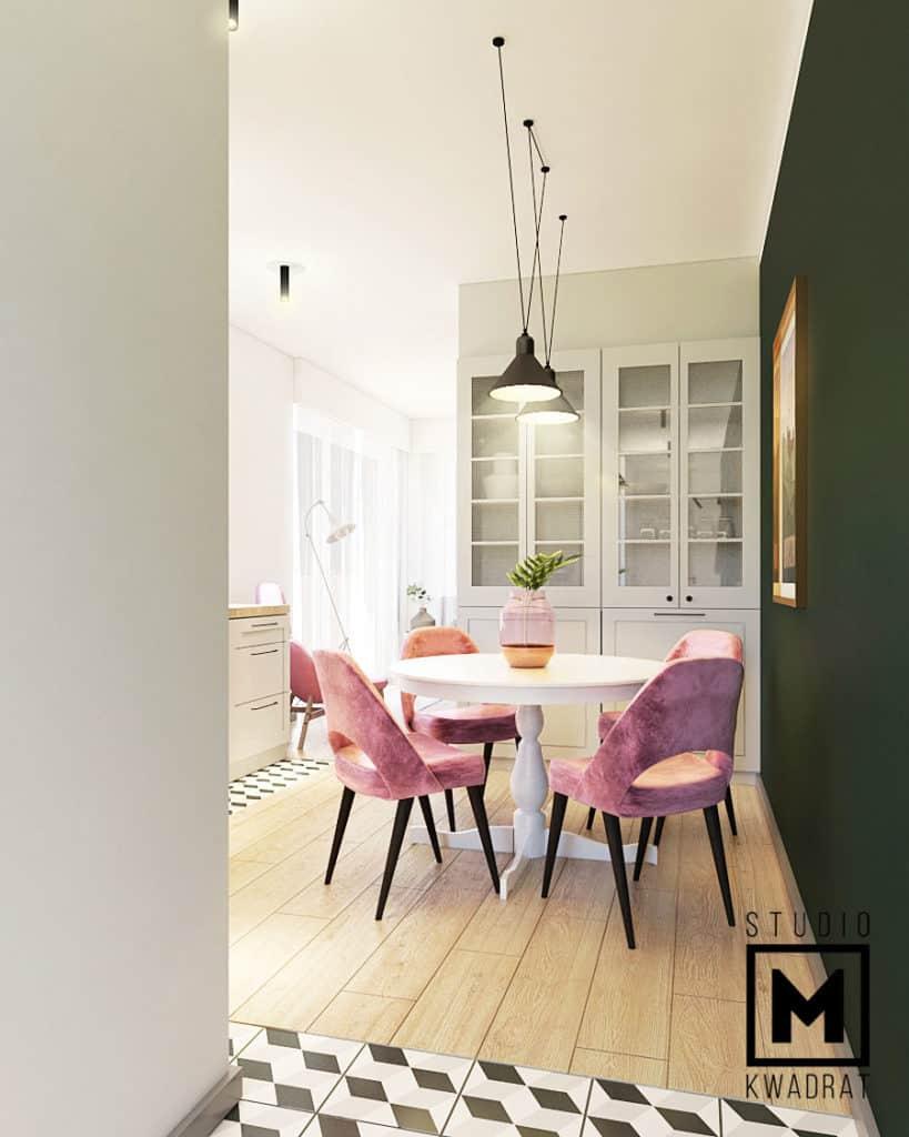 jasna jadalnia w stylu nowojorskim, w projektowanym mieszkaniu w Warszawie, krzesła w kolorze pudrowego różu, okrągły stół z Ikei