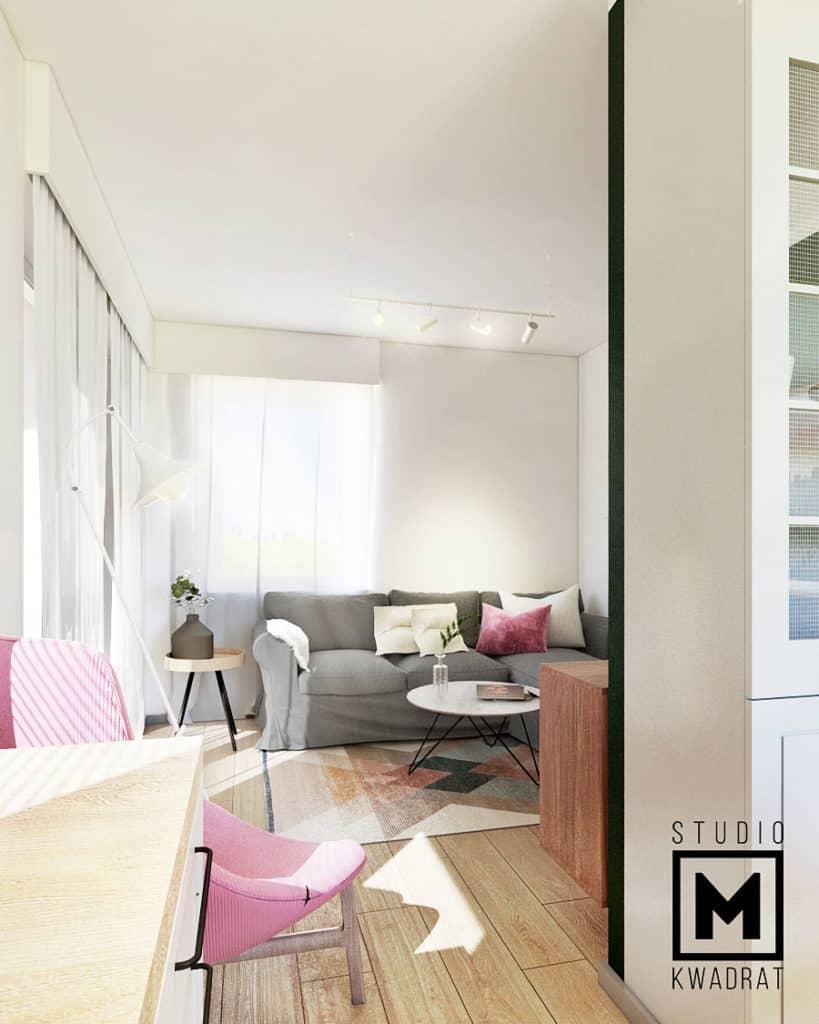 mieszkanie w stylu nowojorskim klasycznym widok na pokój dzienny