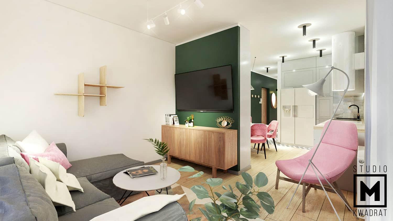ściana pomalowana na butelkową zieleń w pokoju dziennym