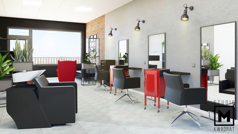 projekt salonu fryzjerskiego z industrialnymi akcentami , beton architektoniczny oraz cegła na ścianie