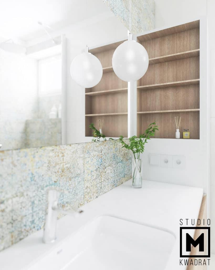 Białe blaty łazienkowe z umywalką podwieszaną , blat z konglomeratu białego