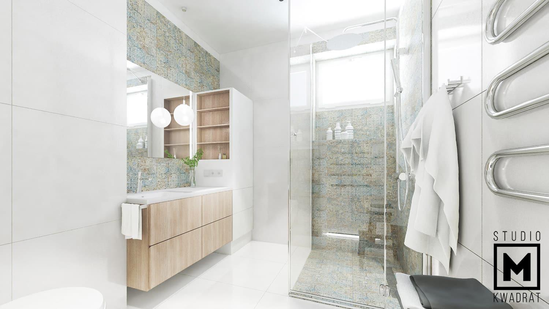 płytki carpet, ozdobny grzejnik, projekt jasnej łazienki z przeszkloną kabiną prysznicową