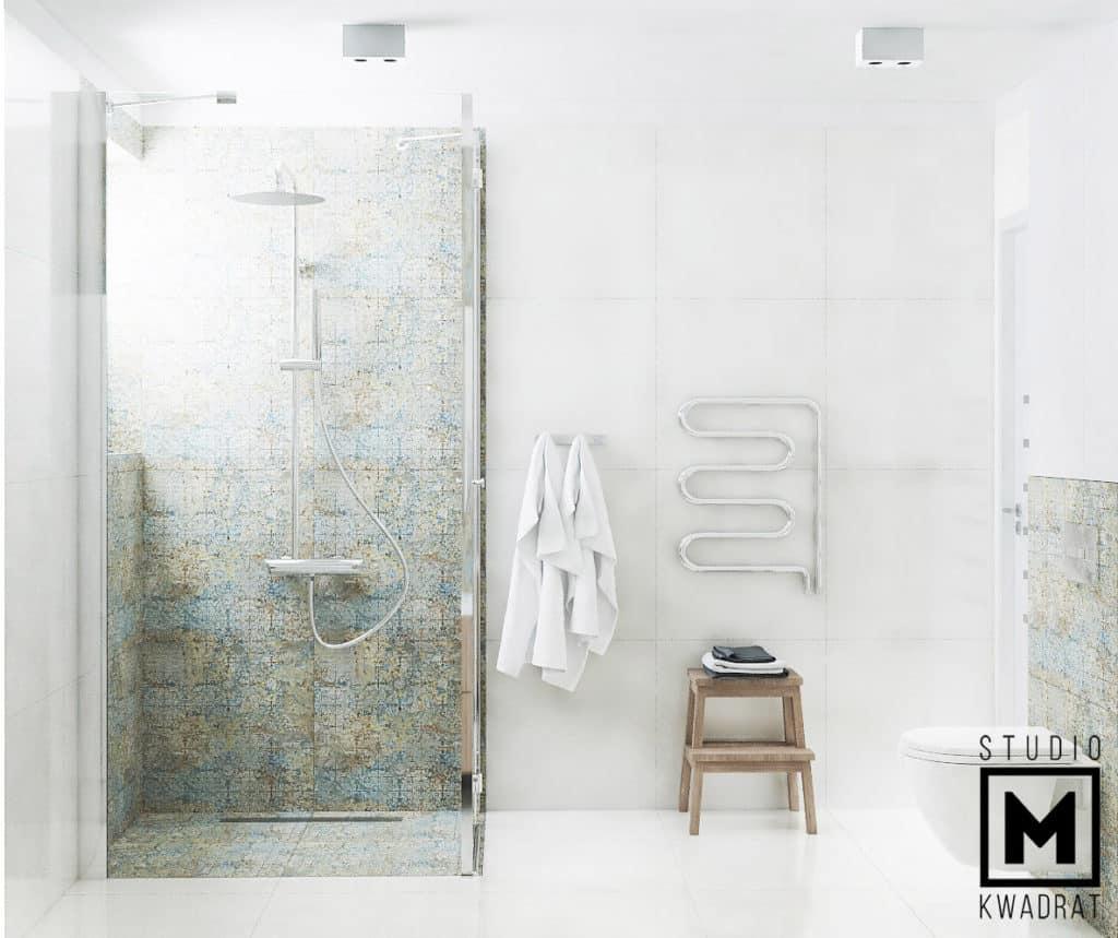 projekt nowoczesnej jasnej sterylnej łazienki z przeszkloną kabiną prysznicową
