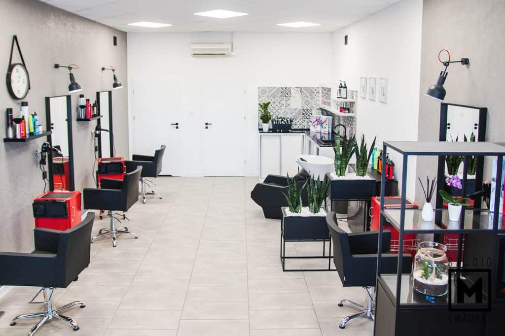 salon fryzjerski radziejów w stylu industrialnym, projekt studio m kwadrat