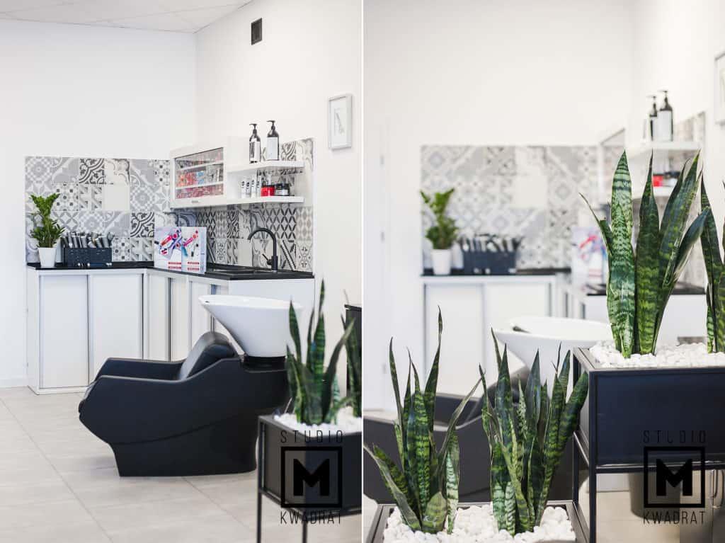 projekt salonu fryzjerskiego czarne loftowe donice