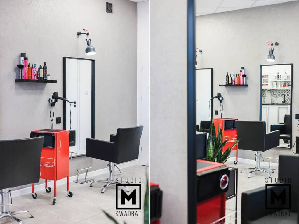 projekt salonu fryzjerskiego, stanowiska fryzjerskie, beton architektoniczny