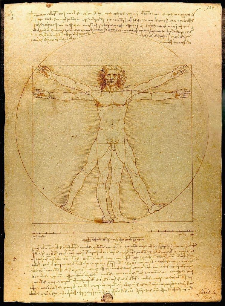 Leonardo Da Vinci złoty podizał człowiek witruwiański