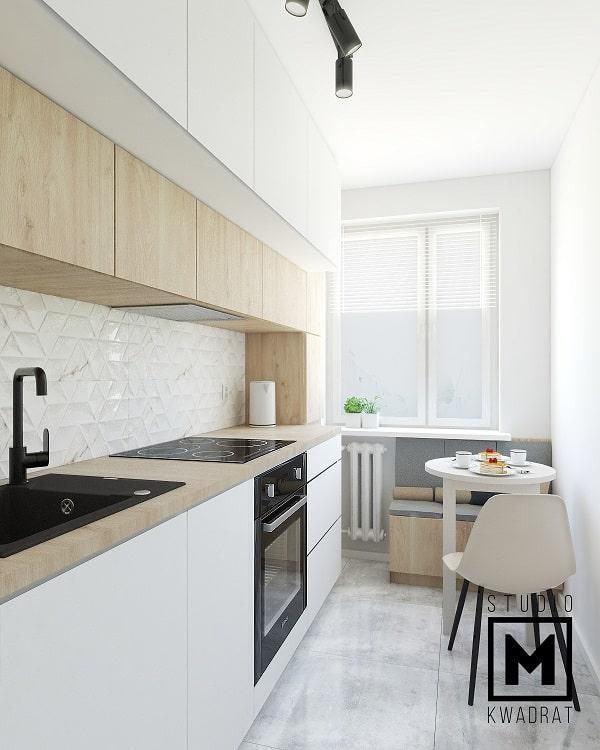 Okrągły stół w wąskiej kuchni. Wąska kuchnia