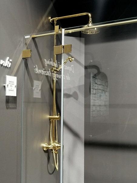 złota deszczownica bateria prysznicowa radaway