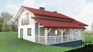 wizualizacja 3d elewacji domu jednorodzinnego z gankiem