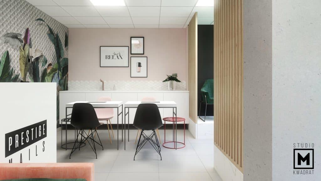 Fartuch nad szafkami oraz stanowiska manicure z czarnymi krzesłami, ścianki ażurowe drewniane
