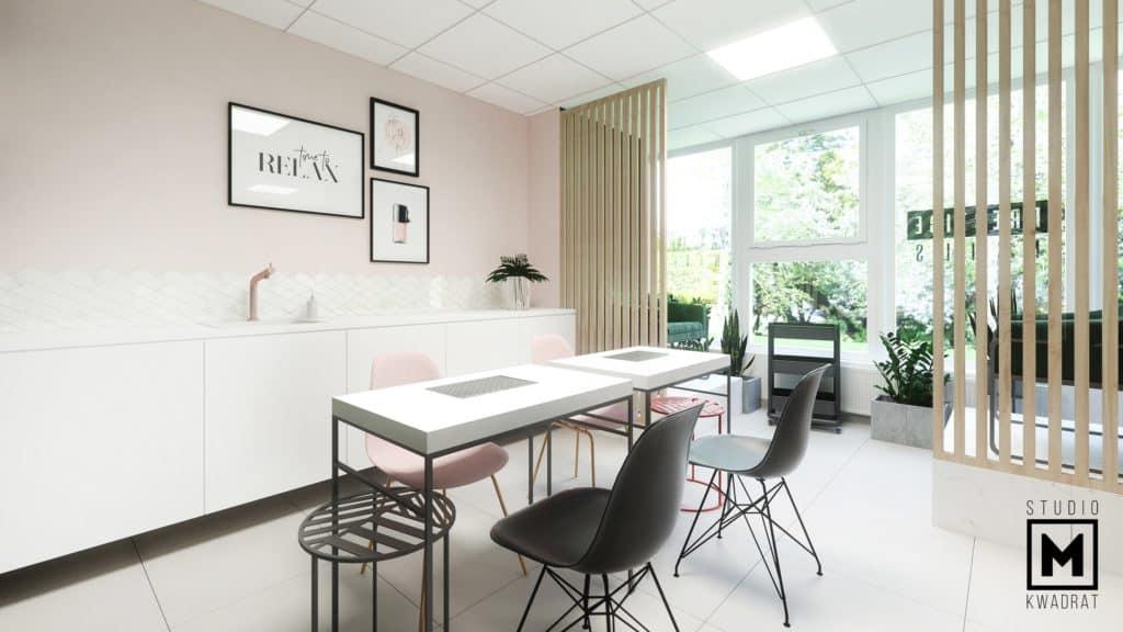 stanowiska do manicure salon stylizacji Poznań, ścianki ażurowe drewniane