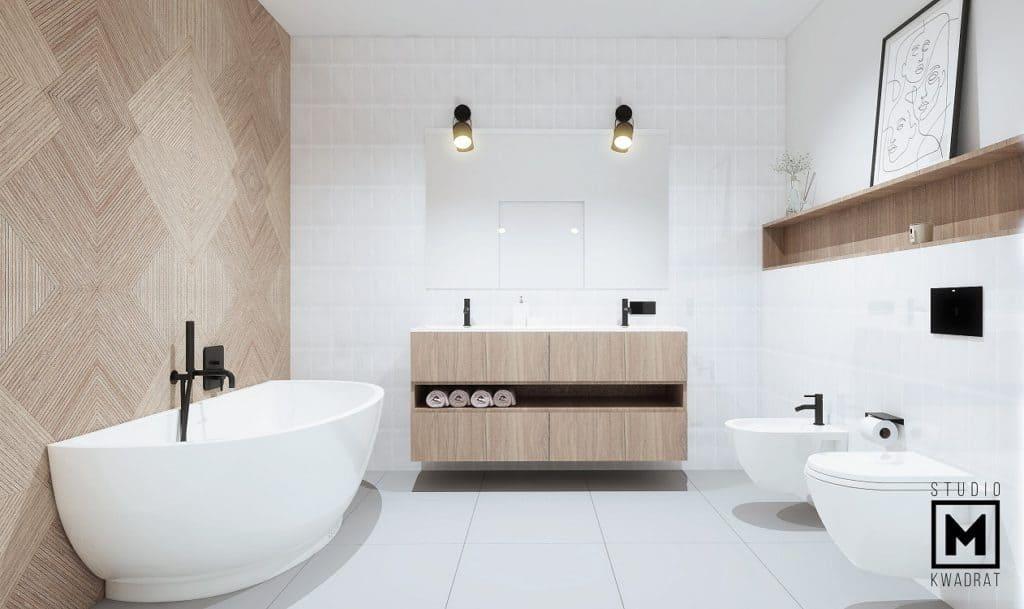 Duże lustro w łazience, czarne oprawy oświetleniowe oraz czarne baterie umywlkowe i prysznicowe
