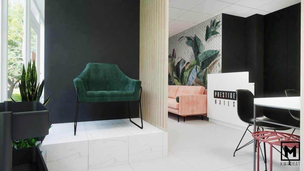 Zielony fotel do pedicure na wysokim podeście.