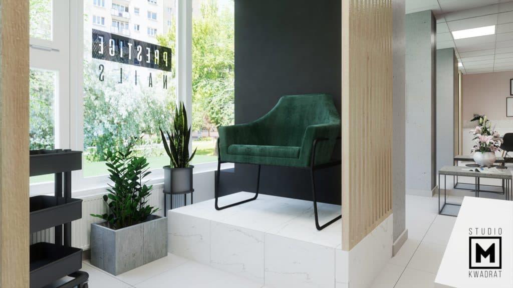 zielony fotel na podeście do pedicure ścianka ażurowa drewniana
