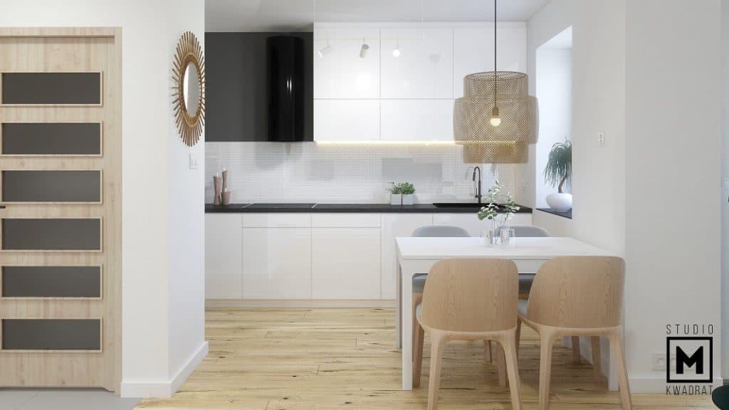 Projekt salonu z aneksem kuchennym, stół jadalniany.