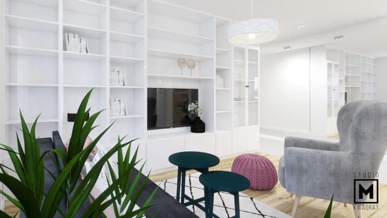 projektant wnętrz poznań biała szafka projektowana na wymiar pod TV