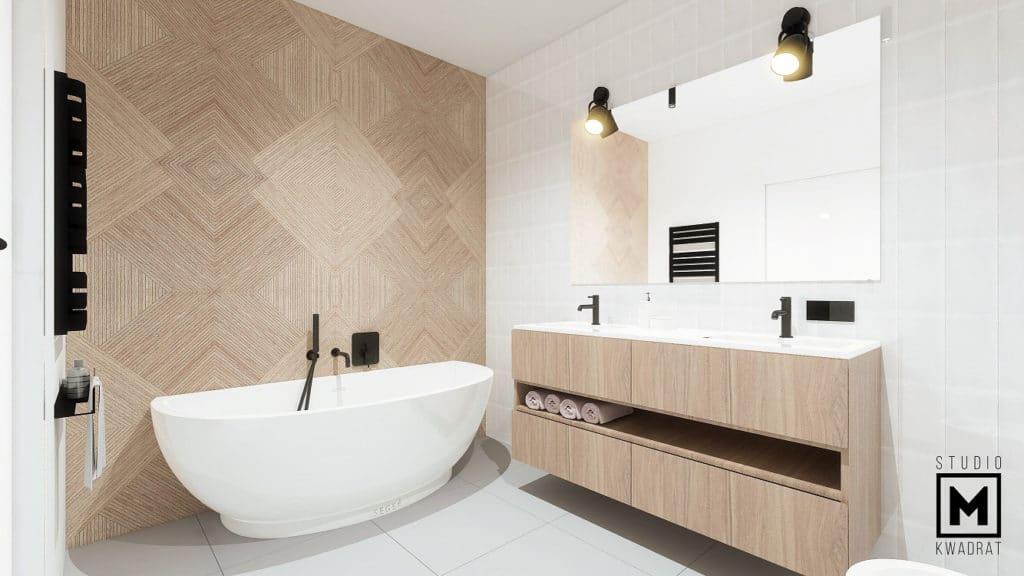 wanna wolnostojąca w dużej łazience, ściana z wzorzystą drewnianą płytką