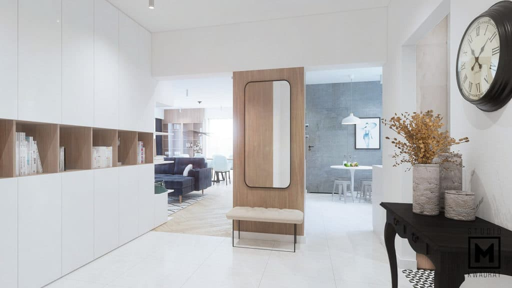 projekt korytarza w domu jednorodzinnym jasna podłoga, duże lustro