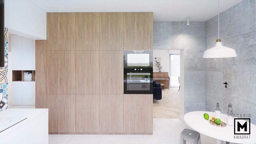 Drewniana zabudowa i beton w kuchni