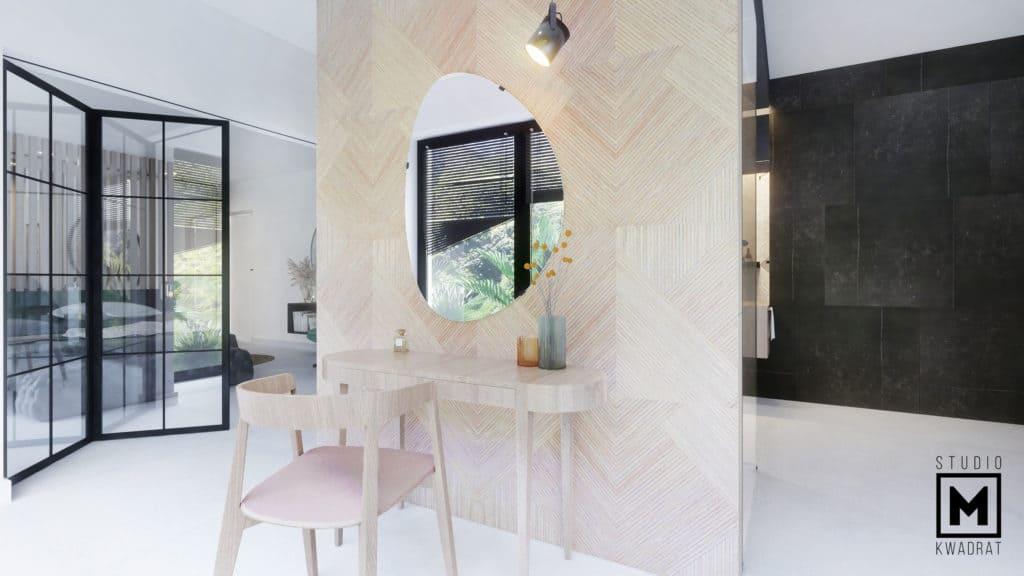 Toaletka w projekcie salonu kąpielowego.