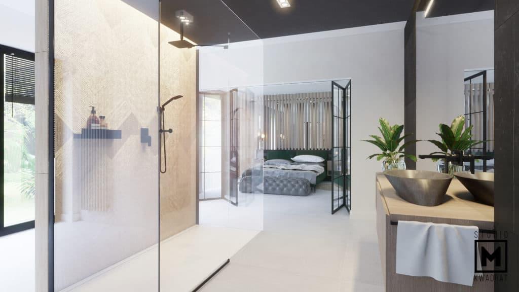 Salon kąpielowy z prysznicem walk in połączony z sypialnią.