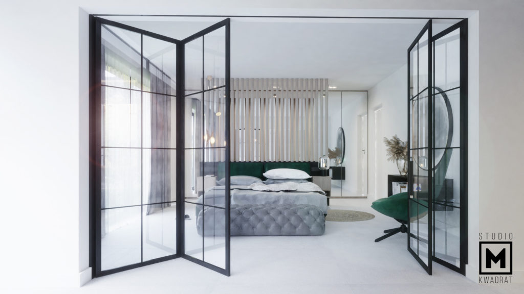 Wnętrze inspirowane naturą. Sypialnia z salonem kąpielowym.