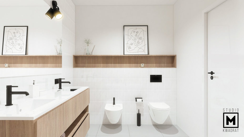 łazienka z bidetem, jasne płytki w drewniane wzory