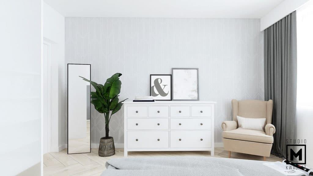 Minimalistyczna tapeta w sypialni