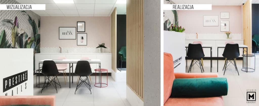 porównanie zdjęcia i wizualizacji projektu wnętrz