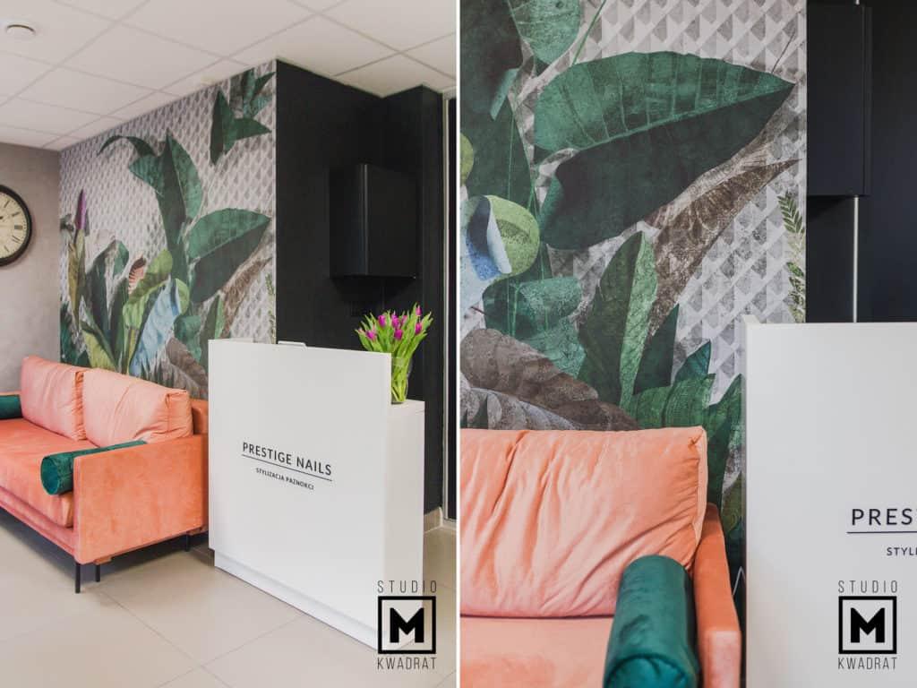 kanapa w poczekalni oraz recepcja w projekcie salonu stylizacji paznokci