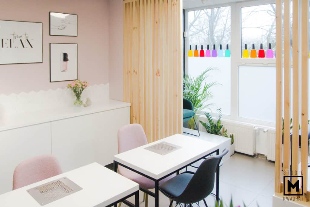 stanowiska manicure i pedicure w projekcie salonu kosmetycznego stylizacji paznokci