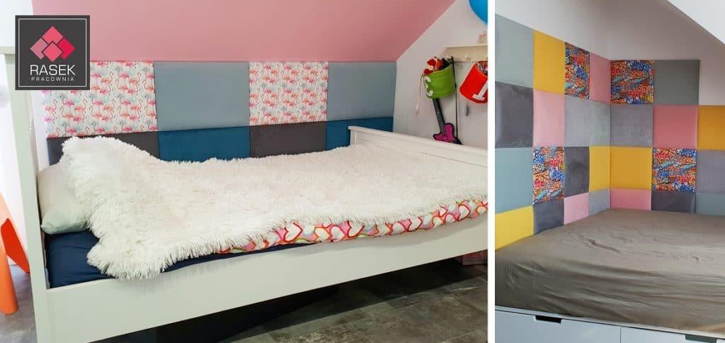 pokój dziecięcy z panelami tapicerowanymi wokół łóżka