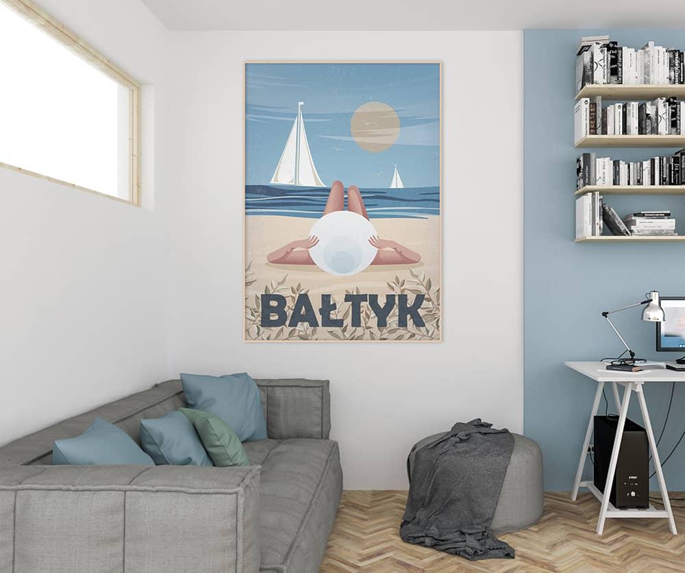 projekt wnętrza z plakatem bałtyk