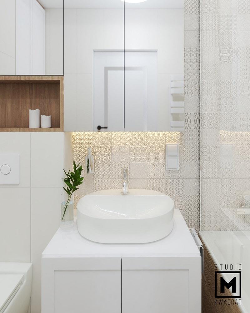 Stylowa łazienka z charakterem biel i drewno płytki patchwork piękna elegancka jasna łazienka