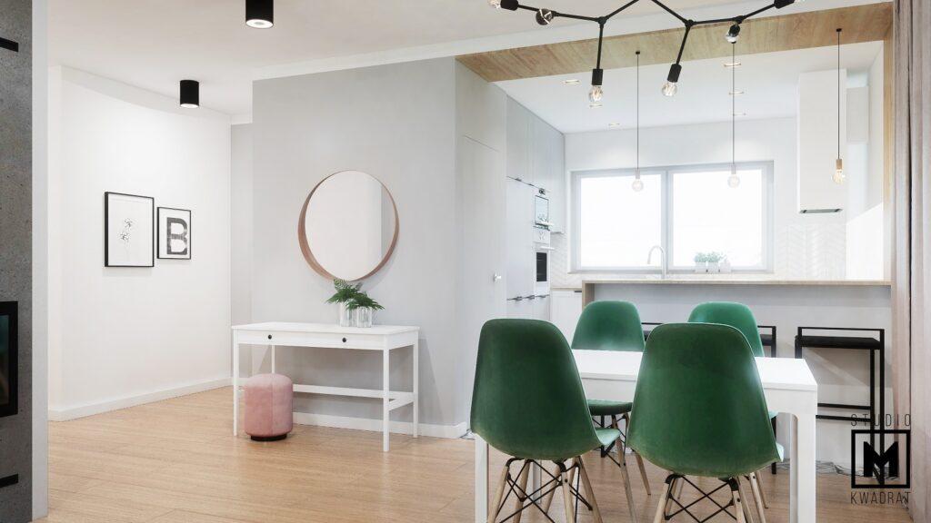 Butelkowo-zielone krzesła przytulna jadalnia