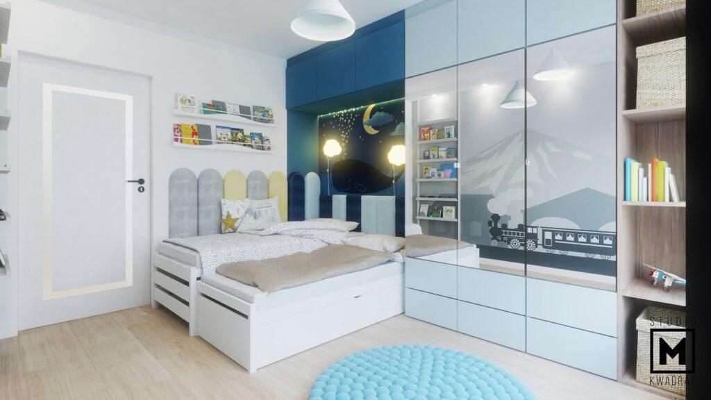 Pokój dziecięcy dla chłopców przytulny niebieski tapeta dziecięca