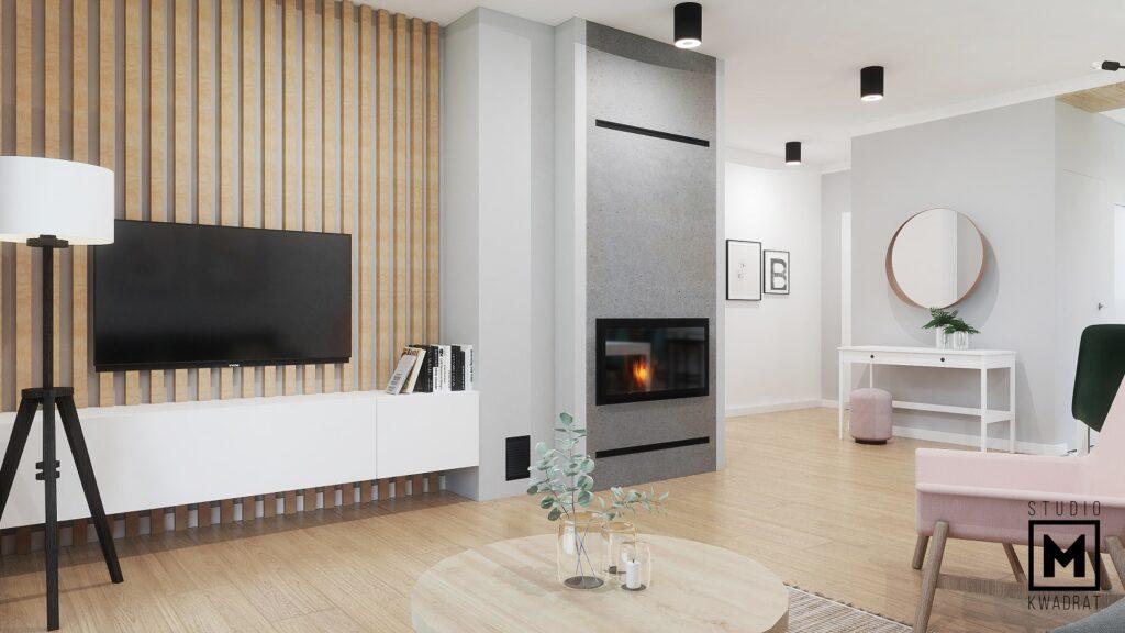 lamele drewniane ściana z tv
