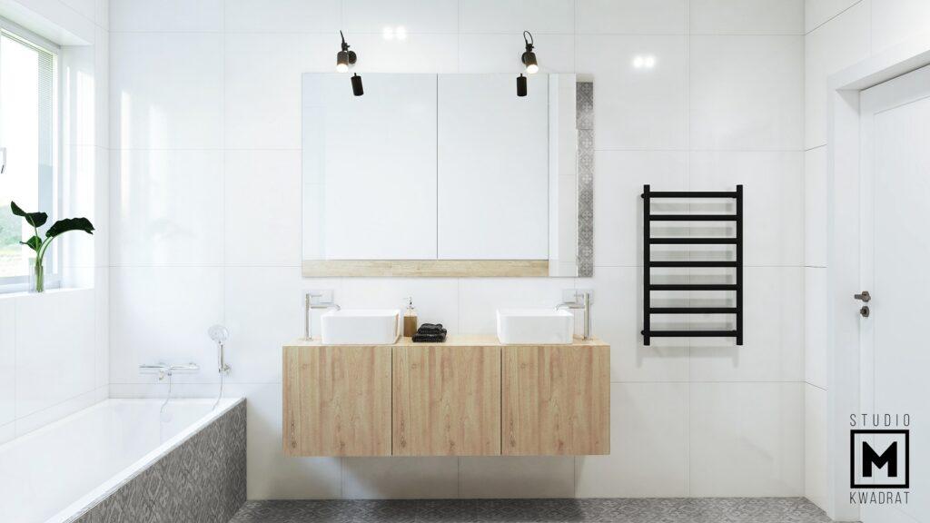 duże lustro w jasnej łazience architektura wnętrz z dwiema umywalkami nablatowymi
