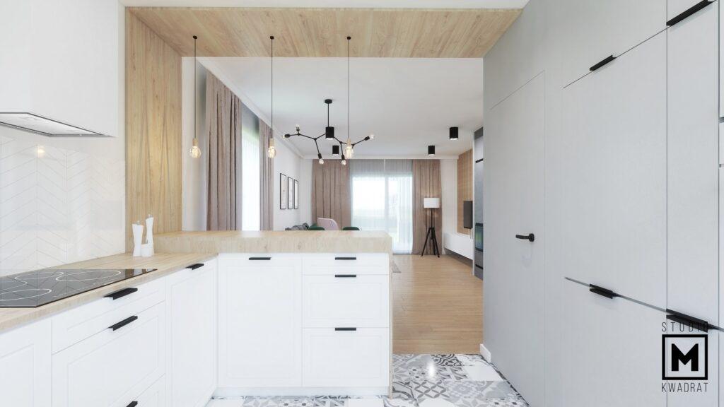 Nowoczesna kuchnia biało-szara z drewnem i wyspą