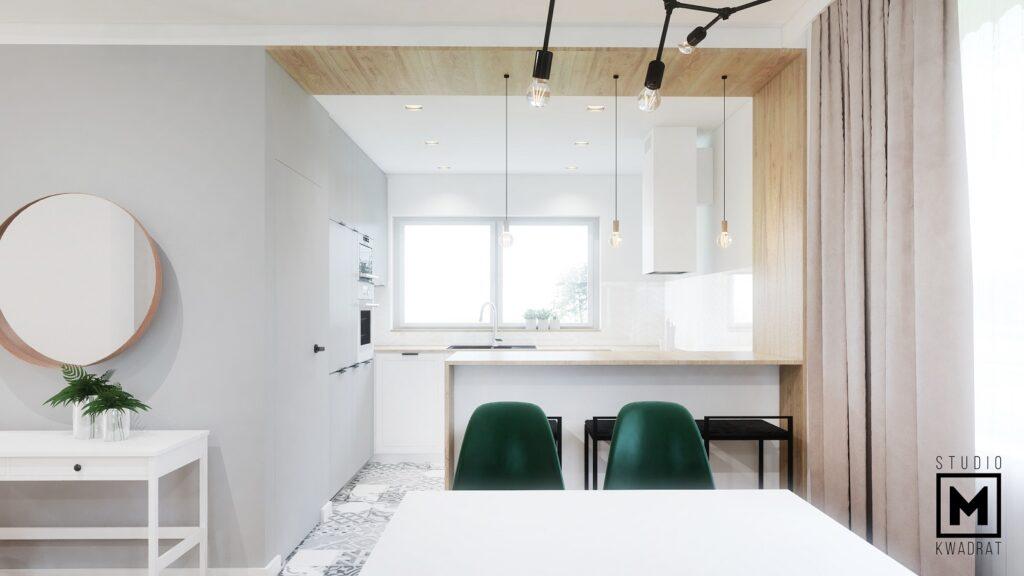 Drewniana wyspa kuchenna architektura wnętrz kuchnia
