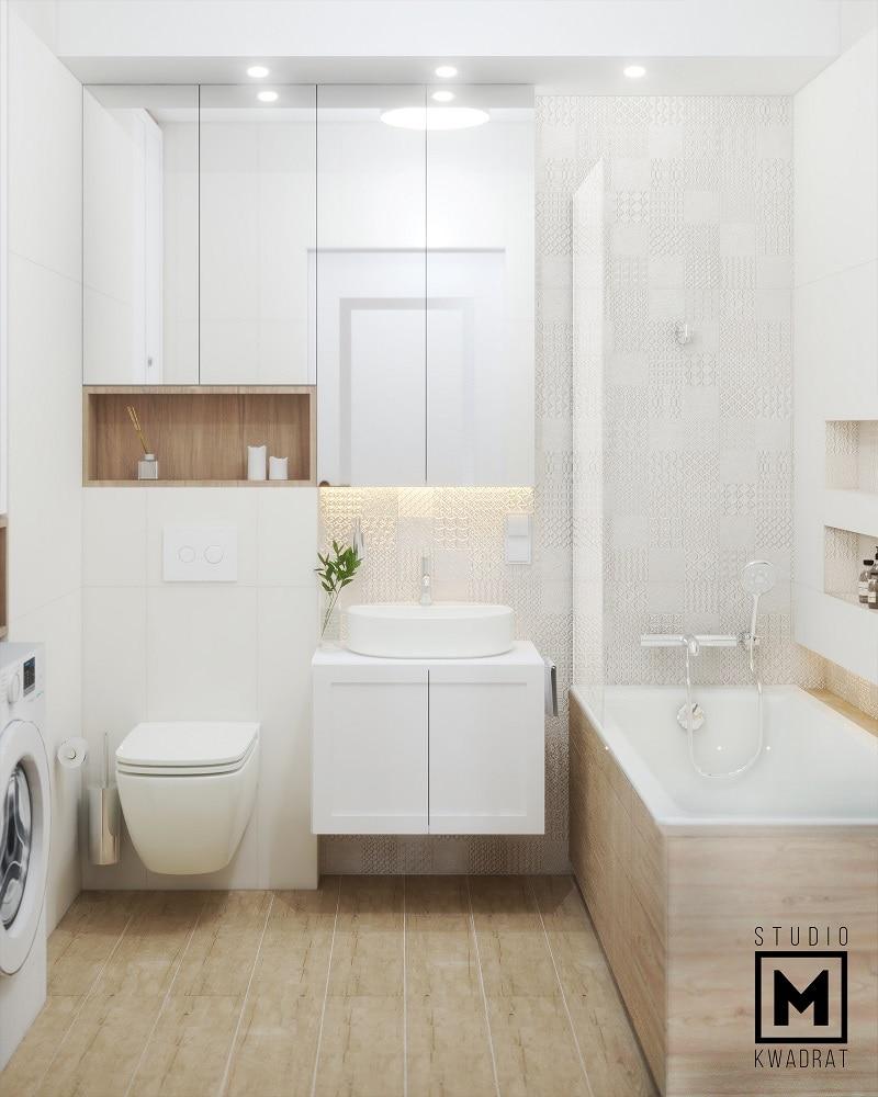 Elegancka łazienka biel drewno płytki patchwork jasna
