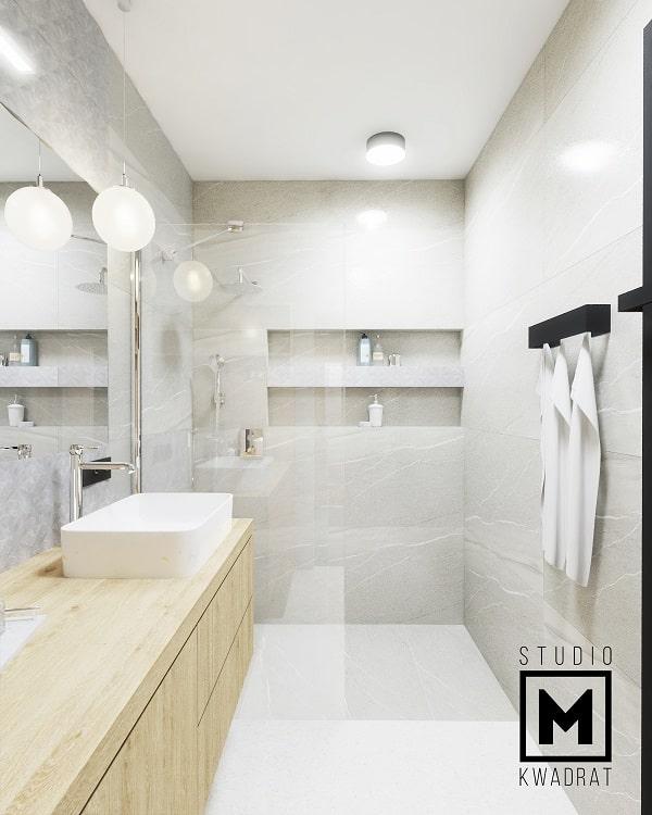 projekt łazienki z płytkami imitującymi marmur