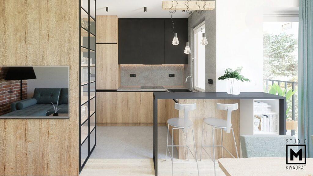 projekt kuchni w stylu loftowym z czarnymi matowymi frontami oraz czarnym sprzętem agd