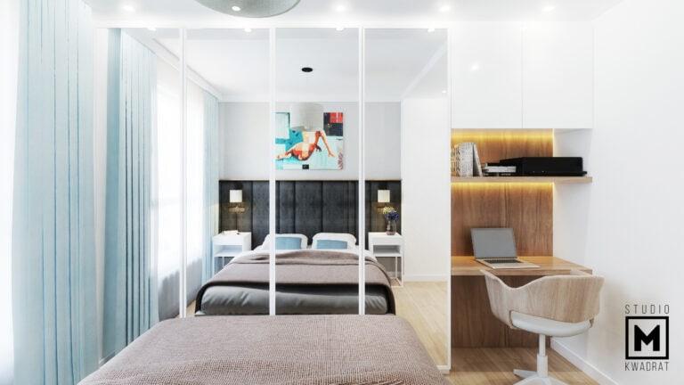 Projekt sypialni szafa na wymiar lustrzane fronty