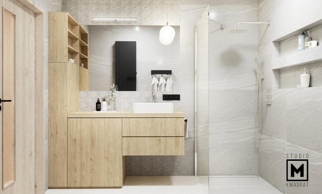 projekt wnetrza łazienki wykończonej marmurowymi płytkami